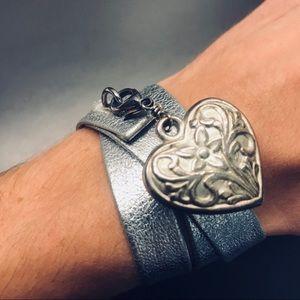 Metallic Silver Leather Wrap Heart Charm Bracelet